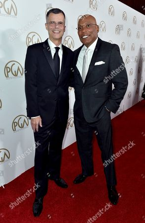 Christopher Mason, left, and Paris Barclay arrive at the 28th Annual Producers Guild Awards at the Beverly Hilton, in Beverly Hills, Calif