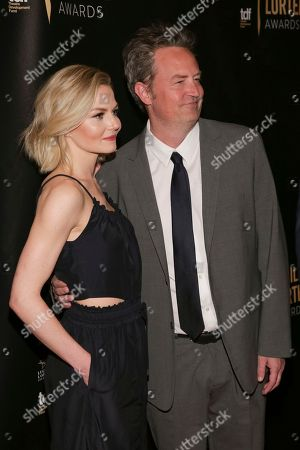 Actress Jennifer Morrison, left, and actor Matthew Perry attend the 32nd Annual Lucille Lortel Awards at the NYU Skirball Center, in New York