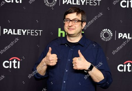 """Stock Picture of Eugene Mirman, a voice actor in the animated television series """"Bob's Burgers,"""" poses at the 34th Annual Paleyfest at the Dolby Theatre, in Los Angeles"""