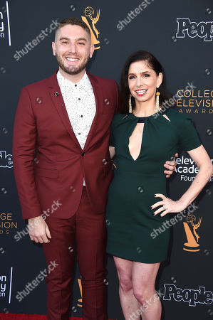 Josh Feldman, left, and Shoshannah Stern arrive at the 38th College Television Awards presented by the Television Academy Foundation at the Saban Media Center, in the NoHo Arts District in Los Angeles