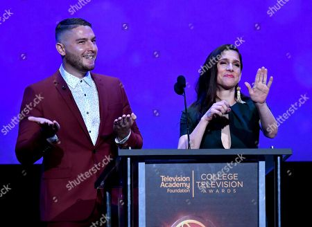 Josh Feldman, left, and Shoshannah Stern present the Loreen Arbus focus on disability award at the 38th College Television Awards presented by the Television Academy Foundation at the Saban Media Center, in the NoHo Arts District in Los Angeles