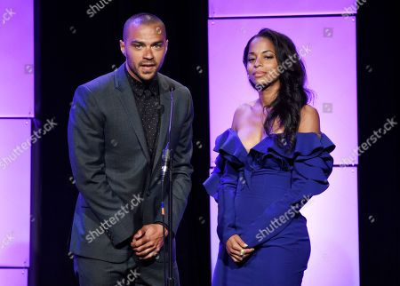 Actor Jesse Williams, left, and actress/dancer Vivian Nixon introduce Nixon's mother Debbie Allen before giving her the Lifetime Achievement Award during the 42nd Annual Gracie Awards Gala at the Beverly Wilshire Hotel, in Beverly Hills, Calif
