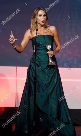 Television journalist Lara Logan accepts the Hard News Feature award at the 42nd Annual Gracie Awards Gala at the Beverly Wilshire Hotel, in Beverly Hills, Calif