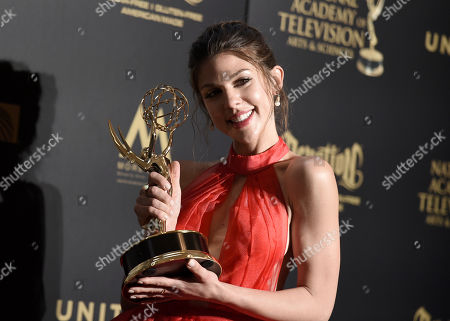 """Kate Mansi, winner of the award for outstanding supporting actress in a drama series for """"Days of Our Lives,"""" poses in the press room at the 44th annual Daytime Emmy Awards at the Pasadena Civic Center, in Pasadena, Calif"""