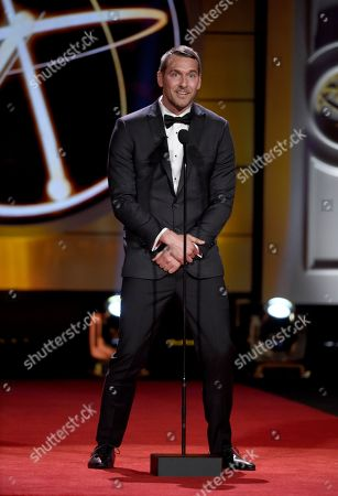 Brandon McMillan speaks at the 44th annual Daytime Emmy Awards at the Pasadena Civic Center, in Pasadena, Calif