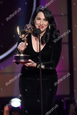 """Alejandra Oraa accepts the award for outstanding entertainment program in Spanish program for """"Destinos"""" at the 44th annual Daytime Emmy Awards at the Pasadena Civic Center, in Pasadena, Calif"""