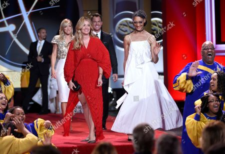 Daphne Oz, left, and Carla Hall on stage at the 44th annual Daytime Emmy Awards at the Pasadena Civic Center, in Pasadena, Calif