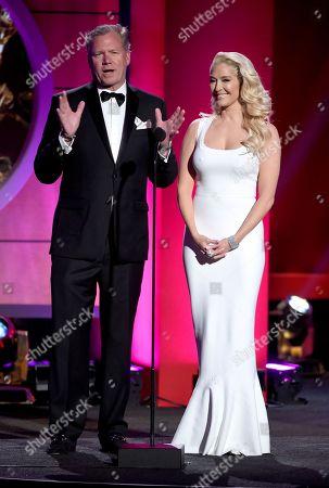 Chris Hansen, left, and Erika Jane speak at the 44th annual Daytime Emmy Awards at the Pasadena Civic Center, in Pasadena, Calif