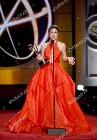 """Kate Mansi accepts the award for outstanding supporting actress in a drama series for """"Days of Our Lives"""" at the 44th annual Daytime Emmy Awards at the Pasadena Civic Center, in Pasadena, Calif"""