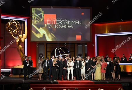 """Stock Image of Mary Connelly, center, accepts the award for outstanding entertainment talk show for """"The Ellen DeGeneres Show"""" at the 44th annual Daytime Emmy Awards at the Pasadena Civic Center, in Pasadena, Calif"""