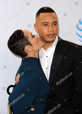 Grace Byers, left, and Trai Byers arrive at the 48th annual NAACP Image Awards at the Pasadena Civic Auditorium, in Pasadena, Calif