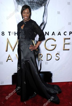 Margot Lee Shetterly arrives at the 48th annual NAACP Image Awards at the Pasadena Civic Auditorium, in Pasadena, Calif