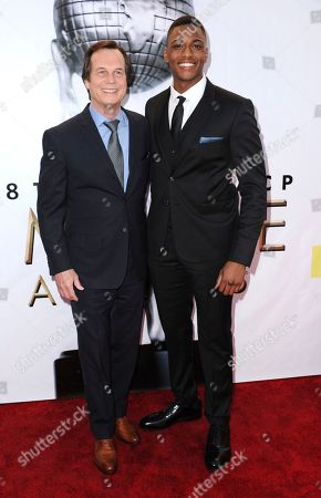 Bill Paxton, left, and Justin Cornwell arrive at the 48th annual NAACP Image Awards at the Pasadena Civic Auditorium, in Pasadena, Calif