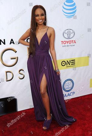 Sierra McClain arrives at the 48th annual NAACP Image Awards at the Pasadena Civic Auditorium, in Pasadena, Calif