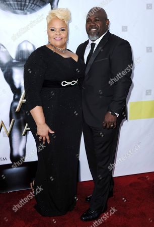 Tamela Mann, left, and David Mann arrive at the 48th annual NAACP Image Awards at the Pasadena Civic Auditorium, in Pasadena, Calif