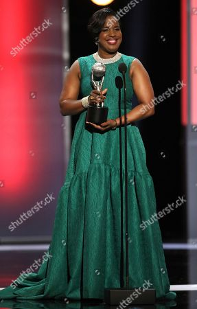 Stock Picture of NAACP Chairman Roslyn M. Brock presents the chairman's award at the 48th annual NAACP Image Awards at the Pasadena Civic Auditorium, in Pasadena, Calif