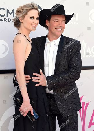 Stock Image of Jessica Craig, left, and Clay Walker arrive at the 52nd annual Academy of Country Music Awards at the T-Mobile Arena, in Las Vegas