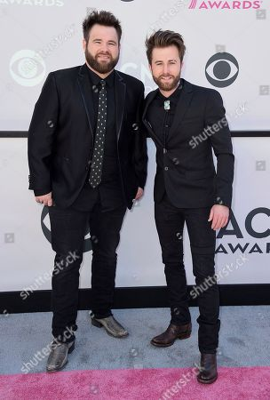 Zach Swon, left, and Colton Swon of The Swon Brothers arrive at the 52nd annual Academy of Country Music Awards at the T-Mobile Arena, in Las Vegas