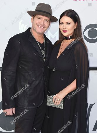 Stock Image of Jerrod Niemann, left, and Morgan Petek arrive at the 52nd annual Academy of Country Music Awards at the T-Mobile Arena, in Las Vegas