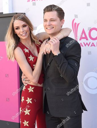 Christina Murphy, left, and Frankie Ballard arrive at the 52nd annual Academy of Country Music Awards at the T-Mobile Arena, in Las Vegas