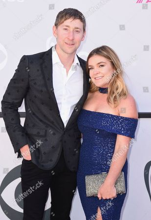 Ashley Gorley, left, and Mandy Gorley arrive at the 52nd annual Academy of Country Music Awards at the T-Mobile Arena, in Las Vegas