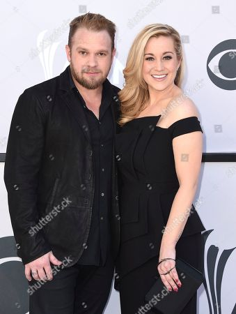 Kellie Pickler, right, and Kyle Jacobs arrive at the 52nd annual Academy of Country Music Awards at the T-Mobile Arena, in Las Vegas