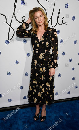 Stock Image of Actress Emily Van Camp poses at the fifth anniversary of designer Tyler Ellis' eponymous accessories line at the Chateau Marmont, in West Hollywood, Calif