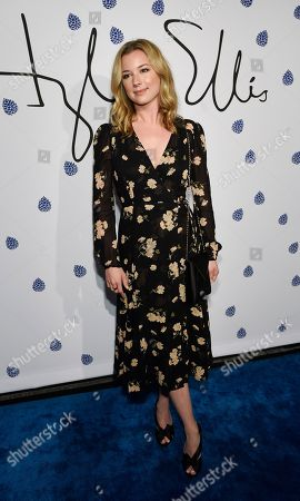 Actress Emily Van Camp poses at the fifth anniversary of designer Tyler Ellis' eponymous accessories line at the Chateau Marmont, in West Hollywood, Calif