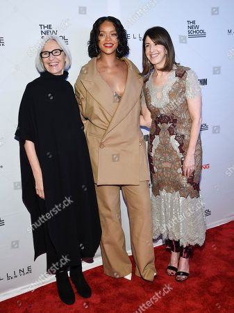 Honorees Eileen Fisher, left, Rihanna and Neiman Marcus CEO Karen Katz attend the 69th Annual Parsons Benefit at Pier Sixty, in New York