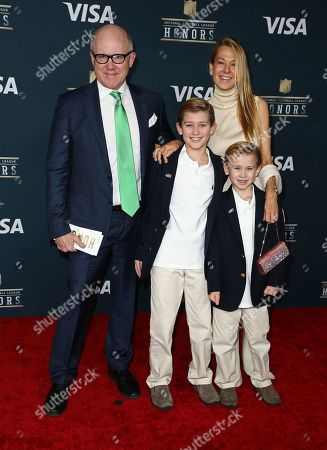 New York Jets owner Woody Johnson, from left, Suzanne Johnson, Brick Johnson, and Jack Johnson, arrive at the 6th annual NFL Honors at the Wortham Center, in Houston