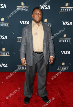 Former NFL player Barry Sanders arrives at the 6th annual NFL Honors at the Wortham Center, in Houston