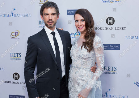 Christopher Gorham, left, and Janie Bryant arrive at the Uplift Family Services at Hollygrove Gala at the W Hollywood, in Los Angeles