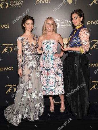 Shiri Appleby, left, Marti Noxon and Sarah Gertrude Shapiro attend the 75th Annual Peabody Awards Ceremony at Cipriani Wall Street, in New York