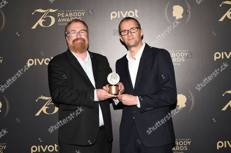R.J. Cutler, left, and John Battsek pose together at the 75th Annual Peabody Awards Ceremony at Cipriani Wall Street, in New York