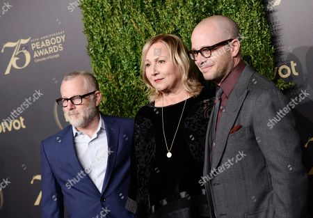 Tom Perrotta, left, Mimi Leder, and Damon Lindelof attend the 75th Annual Peabody Awards Ceremony at Cipriani Wall Street, in New York