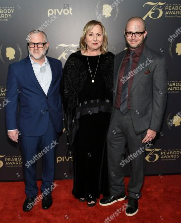 Tom Perrotta, left, Mimi Leder and Damon Lindelof attend the 75th Annual Peabody Awards Ceremony at Cipriani Wall Street, in New York