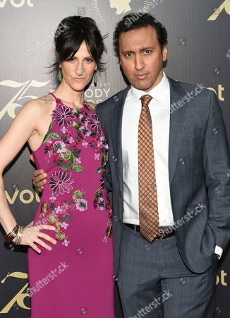 Lillian LaSalle, left, Aasif Mandvi attend the 75th Annual Peabody Awards Ceremony at Cipriani Wall Street, in New York