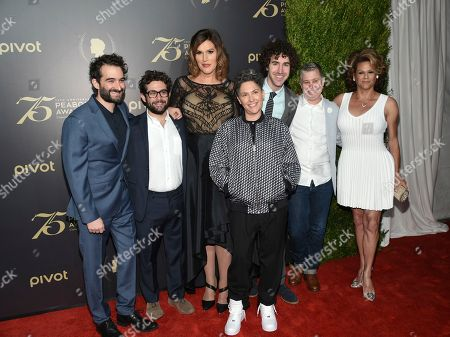 Jay Duplass, left, Joe Lewis, Our Lady J, Ethan Kuperberg, Ali Liebegott and Alexandra Billings attend the 75th Annual Peabody Awards Ceremony at Cipriani Wall Street, in New York