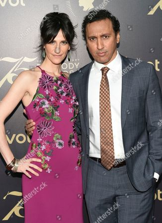 Stock Image of Lillian LaSalle, left, Aasif Mandvi attend the 75th Annual Peabody Awards Ceremony at Cipriani Wall Street, in New York