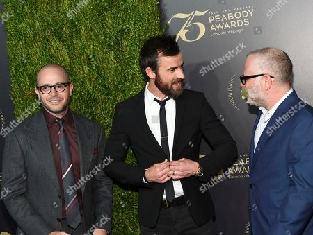 Damon Lindelof, left, Justin Theroux and Tom Perrotta attend the 75th Annual Peabody Awards Ceremony at Cipriani Wall Street, in New York