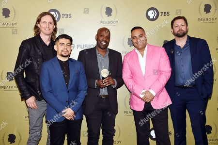 "The ""Hip-Hop Evolution"" team, from left, Sam Dunn, Rodrigo Bascunan, Shadrach Kabango, Russell Peters and Darby Wheeler pose in the press room at the 76th Annual Peabody Awards at Cipriani Wall Street, in New York"