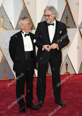 Stock Image of Toshio Suzuki, left, and Michael Dudok de Wit arrive at the Oscars, at the Dolby Theatre in Los Angeles