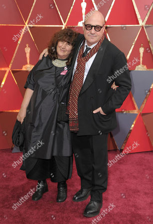 Donatella Palermo, left, and Gianfranco Rosi arrive at the Oscars, at the Dolby Theatre in Los Angeles