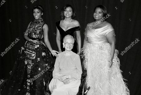 Janelle Monae, from left, Taraji P. Henson, and Octavia Spencer pose with Katherine Johnson, center, backstage at the Oscars, at the Dolby Theatre in Los Angeles