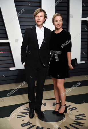 Beck, left, and wife Marissa Ribisi arrive at the Vanity Fair Oscar Party, in Beverly Hills, Calif