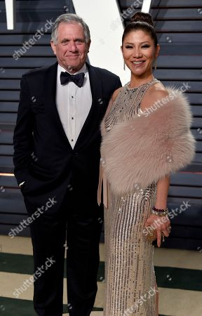 Les Moonves, left, and Julie Chen arrive at the Vanity Fair Oscar Party, in Beverly Hills, Calif