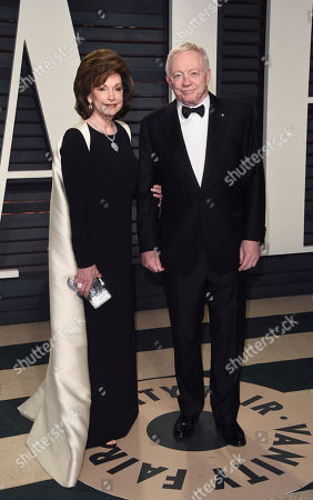 Stock Image of Cowboys owner Jerry Jones, right, and Eugenia Jones arrive at the Vanity Fair Oscar Party, in Beverly Hills, Calif