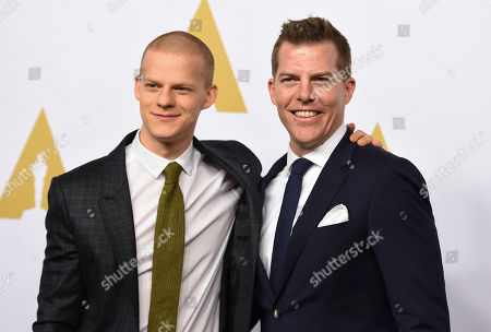 Lucas Hedges, left, and Kevin J. Walsh arrive at the 89th Academy Awards Nominees Luncheon at The Beverly Hilton Hotel, in Beverly Hills, Calif