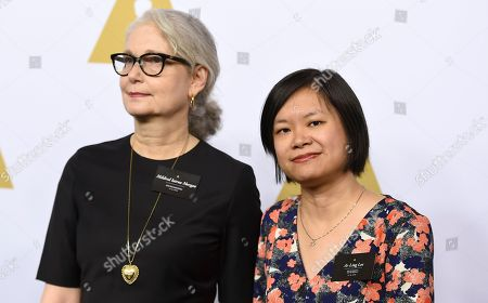 Mildred Iatrou Morgan, left, and Ai-Ling Lee arrive at the 89th Academy Awards Nominees Luncheon at The Beverly Hilton Hotel, in Beverly Hills, Calif