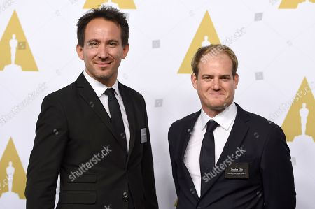 Marcel Mettelsiefen, left, and Stephen Ellis arrive at the 89th Academy Awards Nominees Luncheon at The Beverly Hilton Hotel, in Beverly Hills, Calif